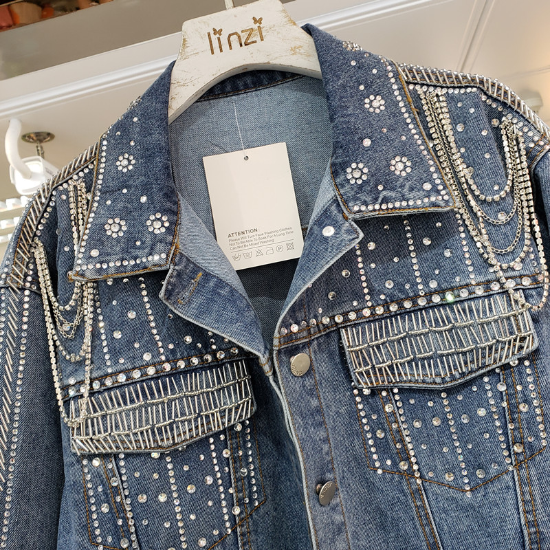 2020 Fall Winter New Heavy Nail Bead Diamond Denim Coat Woman Chain Casual Jeans Jacket Womens Loose Long Sleeve Jean Coats Top