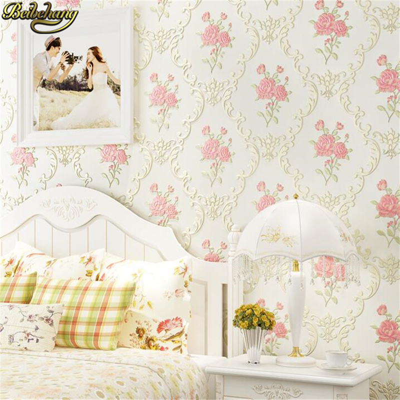 Beibehang 53X300cm European Non-woven Self-adhesive Wallpaper 3D Garden Pink Wall Paper Roll Bedroom Living Room TV Background