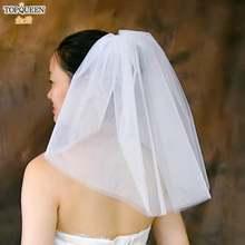 Topqueen v30 короткая простая вуаль 40 см для невесты с расческой