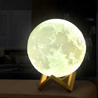 3D Light Touch Switch Rechargeable Moon Lamp 2 Color Change 3D Print Lamp Moon Bedroom Bookcase Night Light