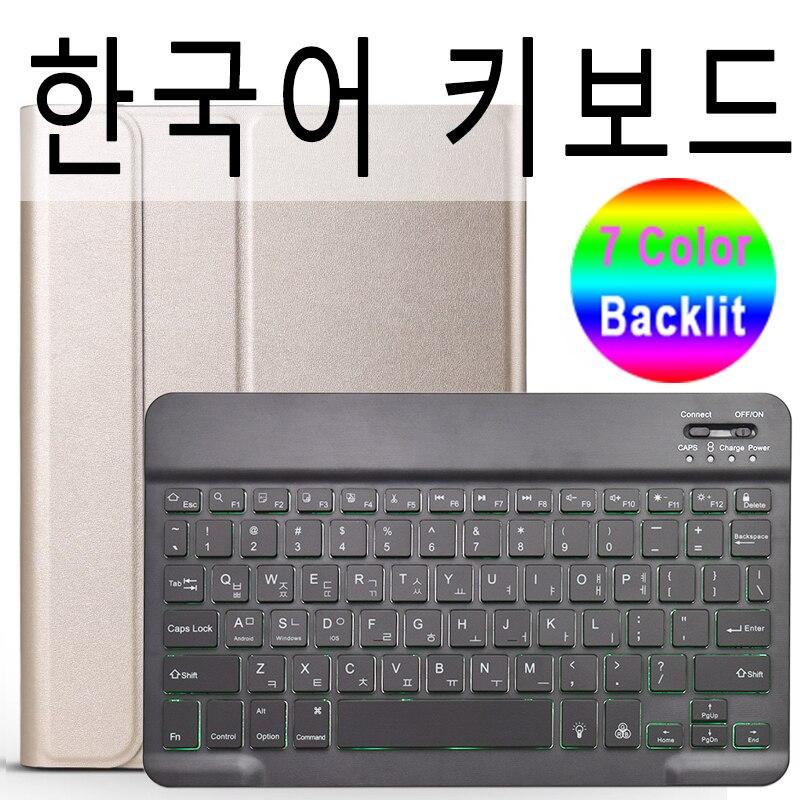 Korean Keyboard Rose Red 7 Colors Backlit 3 0 Bluetooth Keyboard Case for iPad 10 2 Keyboard Case for Apple