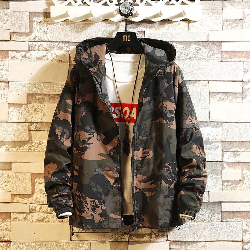 2020 New Spring And Autumn Men's Jacket Camouflage Hoodie Men's Coat Japanese Harajuku Running Locomotive Jacket
