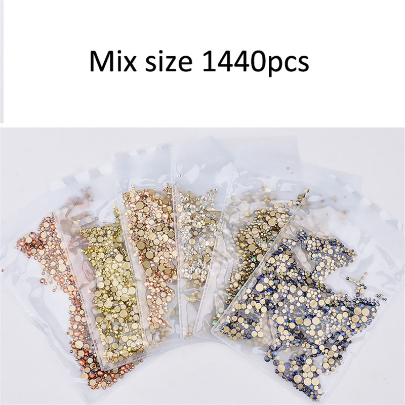 Купить 1440 шт/пакет ногтей стразы с кристаллами блестками на плоской