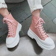 Moda sola grossa lona laço-up sapatos de inicialização