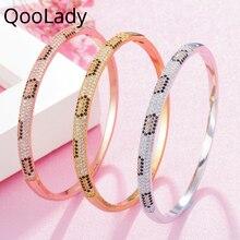 QooLady Top Luxury Yellow Gold Snake Open Cuff Bangle Bracelet Cubic Zircon Wedding Brides Jewelry for Women Accessories K006