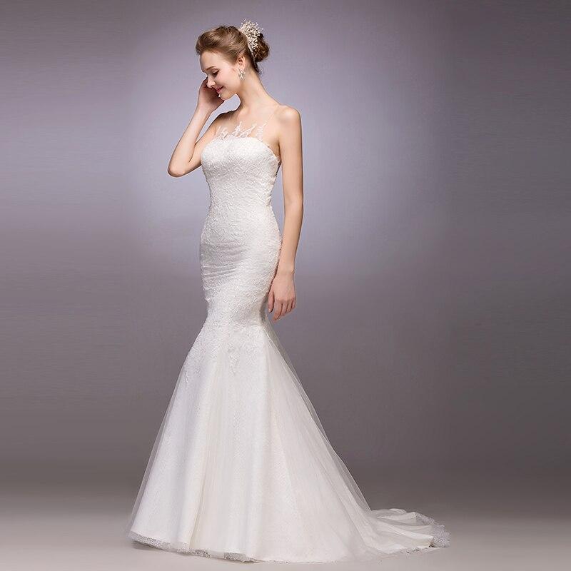 New Arrival Long Mermaid Wedding Dress Lace Appliques 2015 See Through Back Button Brides Dresses Vestido De Noiva Louisvuigon