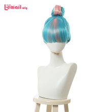 L email wig LoL Qiyana Cosplay Wig True Damage Cosplay Blue Mixed Pink Wigs with Bun Halloween Heat Resistant Synthetic Hair
