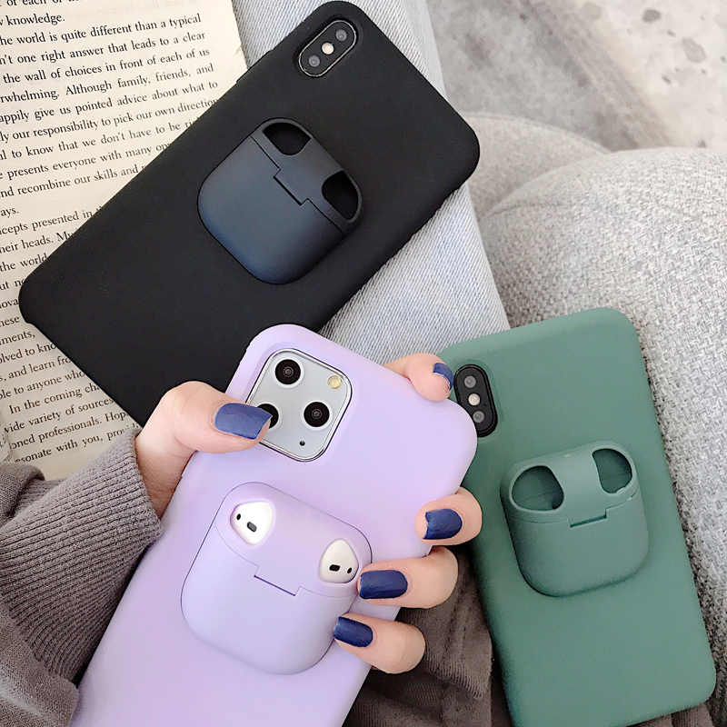Capa para iphone 11 pro max xs max xr x 8 7 6s mais capa para airpods 2 1 pro silicone caixa macia para airpods3 funda casos