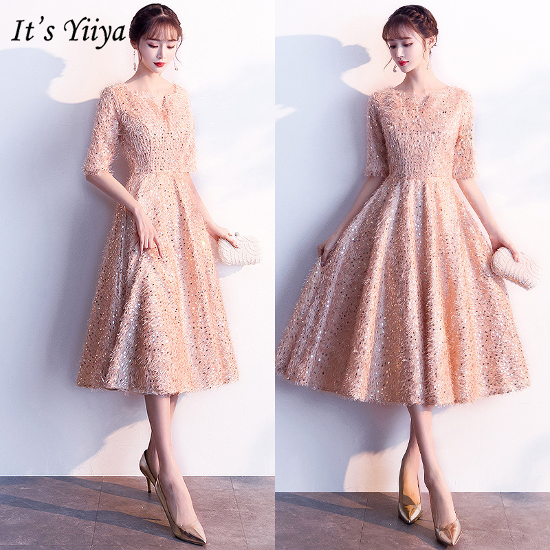 It's YiiYa   Cocktail     Dresses   2019 Half-sleeves Sequined Tassel Formal   Dresses   Evening Party Elegant Slim A-line Knee-Length E322