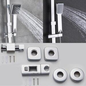Image 4 - Rozinクロームシャワーキャビン蛇口セット浴室降雨シャワーミキサータオルスイベルスパウトバスシャワークレーンホットコールドミキサータップ