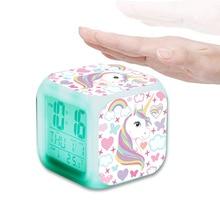 Alarm-Clock Temperature 7-Night-Light Children Unicorn Gift Despertador LED LED