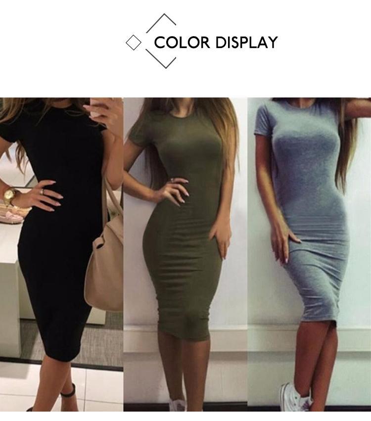 H28cbf7337aee495db2bf026d63bbdc4ag 2019 Autumn Hot Slim Bodycon Dress Women Solid Color Chic Party Dresses Casual Sleep Wear Inside Wear Vestidos Pencil Dress