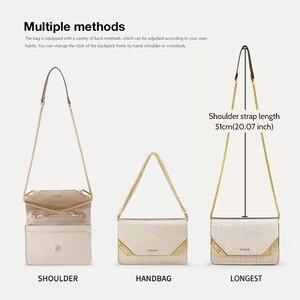 Image 4 - Женская сумка через плечо FOXER, черная сумка из воловьей кожи, с цепочкой и ремешком,