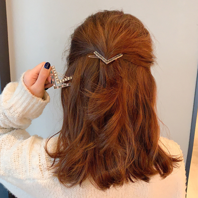 Fashion Hair Clip Pin Metal Geometric CrystalHairband Circle Hairgrip V-shaped Barrette Girls Holder Woman Hair Accessories
