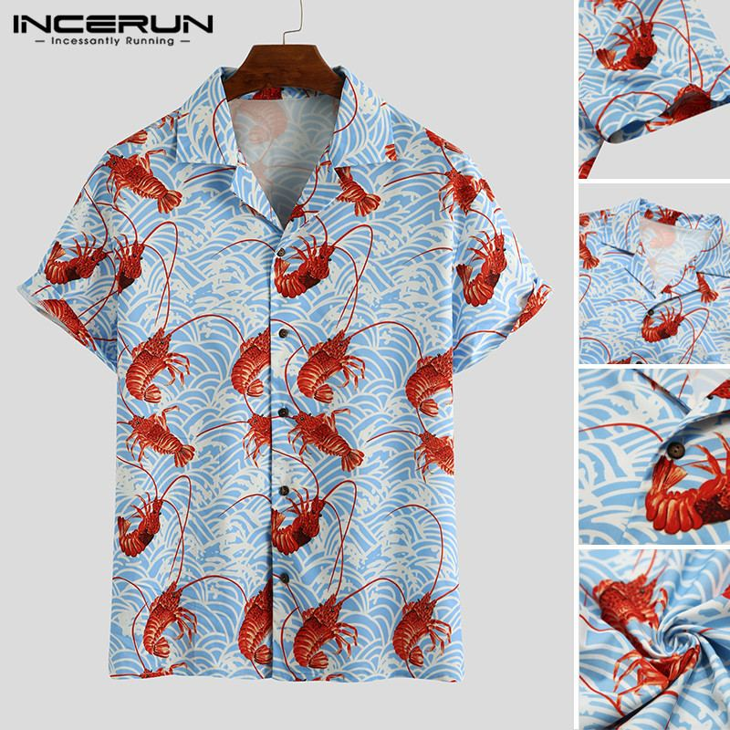 INCERUN Man Loose Short Sleeve Lapel Shirts Men Lobster Printed Shirts Summer Hawaiian Beach Shirt Casual Vocation Tops S-3XL