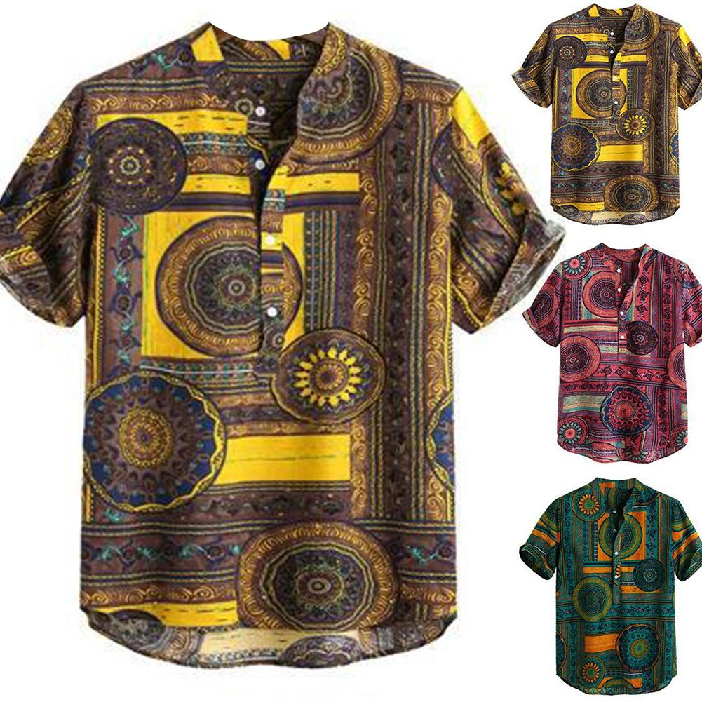 2020 New Summer Men Color Block Ethnic Geometry Half Cardigan Top Print Short Sleeve Buttons Loose Oversized Pullover Shirt