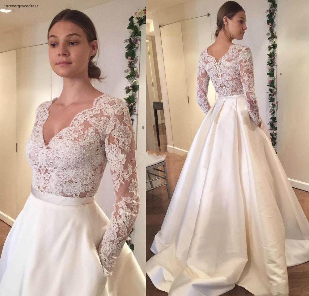 2019 manches longues col en V robe de mariée dentelle Noble avec poche pays jardin mariée robe de mariée sur mesure grande taille