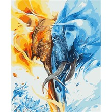 Painting By Numbers Hand Painted Canvas Oil Paintings Abstract Animal Pictures Wall For Living Room