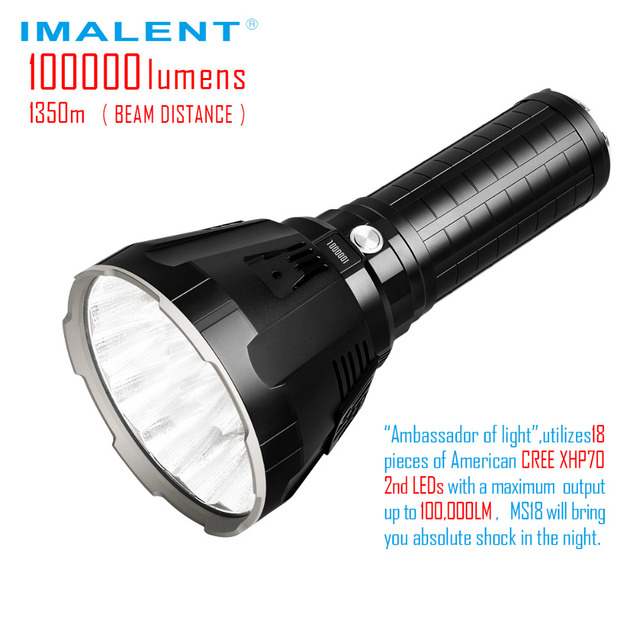 IMALENT MS18 LED Flashlight CREE XHP70 100000 LM Rechargeable Flashlight with Battery + OLED Display Intelligent Charging