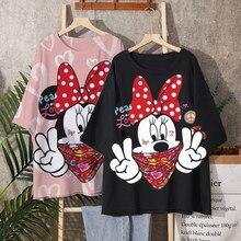 Disney 2021 T-shirt Frauen Cartoon Mickey Minnie Maus Frauen Kurze Sommer Regelmige t Hemd Oansatz Wei Tops T Shirt Verlieren