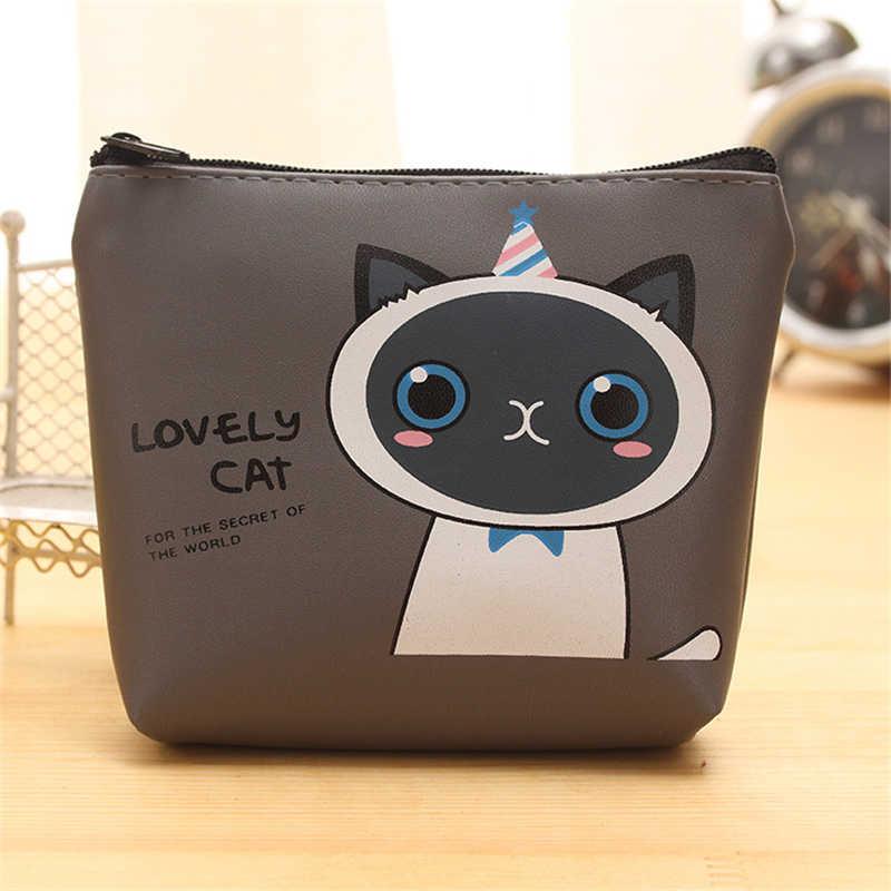 Dl coreano dos desenhos animados couro zíper carteira bonito gato dos desenhos animados do sexo feminino estudante mão moeda saco preço por atacado escritório & escola papelaria