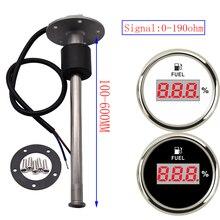 Indicateur de niveau de réservoir dhuile 0 190Ohm avec capteur de niveau de carburant, 150MM 200MM 250MM 450MM pour jauge numérique 52MM