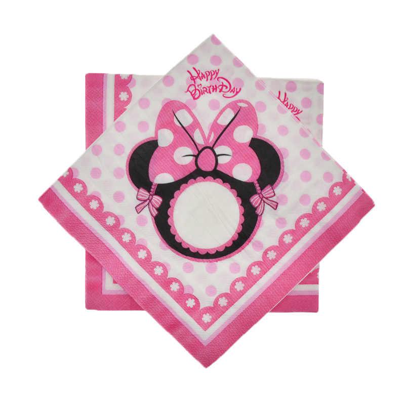 Minnie Mouse Dekorasi Pesta Pernikahan Peralatan Makan Sekali Pakai Piring Kertas Cangkir Serbet Anak-anak Pesta Ulang Tahun Baby Shower Perlengkapan