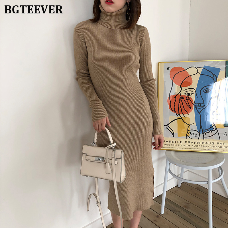 Autumn Winter Women Sweater Dress Turtleneck Full Sleeve Slim Stretch Vestidos Femme Side Split Midi Female Knitted Dress 2019