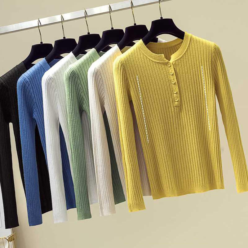 Sexy Button Sweater Women Sweaters And Basic Knitted Pullover Jumper Autumn Winter Korean Style Women Sweater Yellow Blue Black