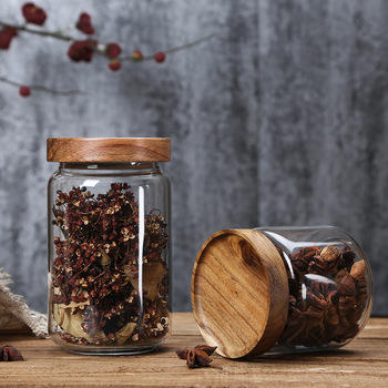 Wood Lid Glass Airtight Canister Kitchen Storage Bottles Jars Food Container Grains Tea Coffee Beans Grains Candy Jar Containers 4