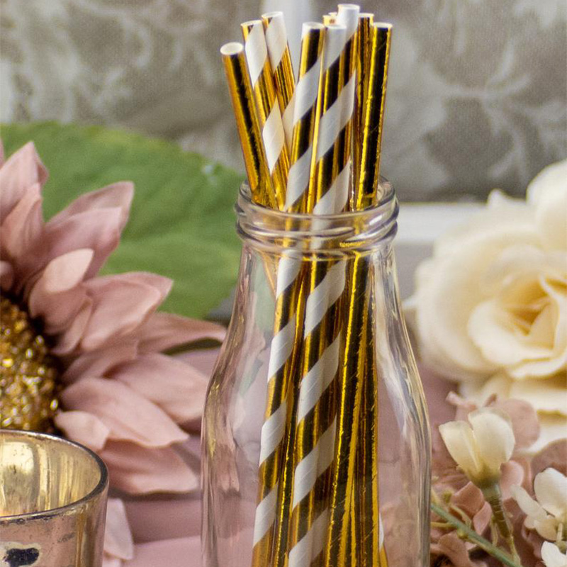 5pcs Gold Paper Straws Birthday Wedding Engagement Bridal Baby Shower Bachelorette Hen Party Christmas Graduation Decoration
