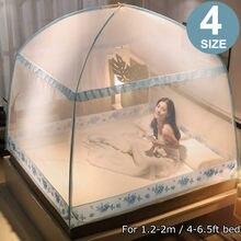 Double lit trois portes yourte moustiquaire pour lit insecte répulsif fond complet fermeture à glissière rehaussant les tentes de lit portables pliantes