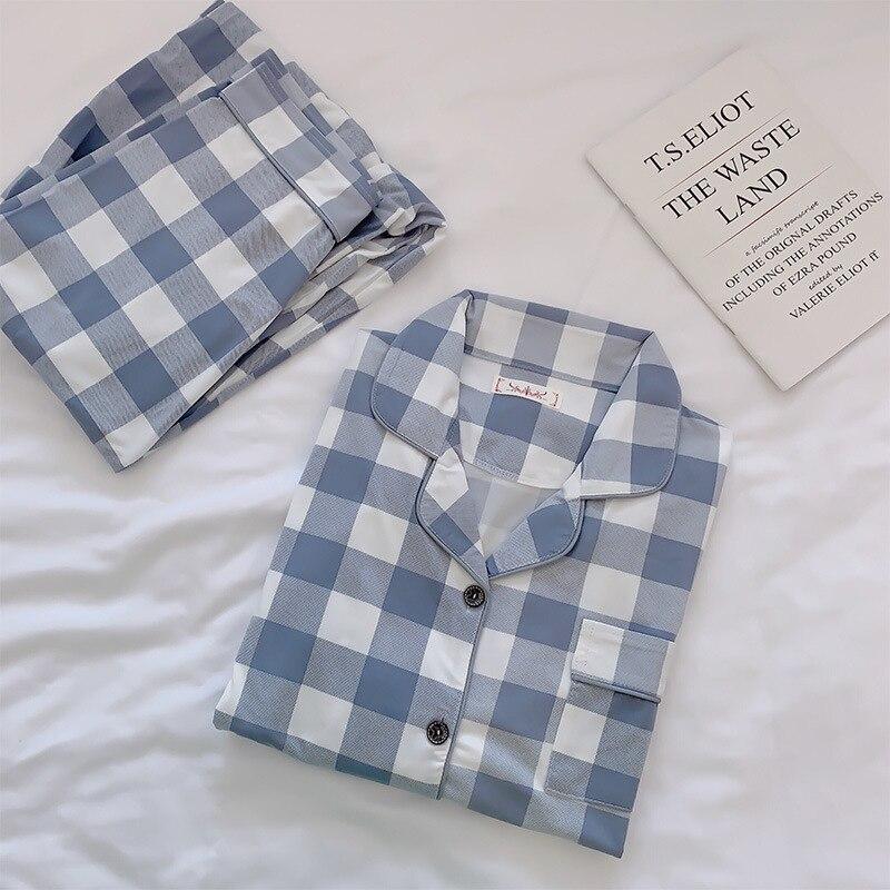 Image 2 - 2019 Cotton Pajamas Women Long Sleeve Sleepwear Set Turn down Collar with Pocket Pyjama Set Cute Cartoon Button Pijama HomewearPajama Sets   -