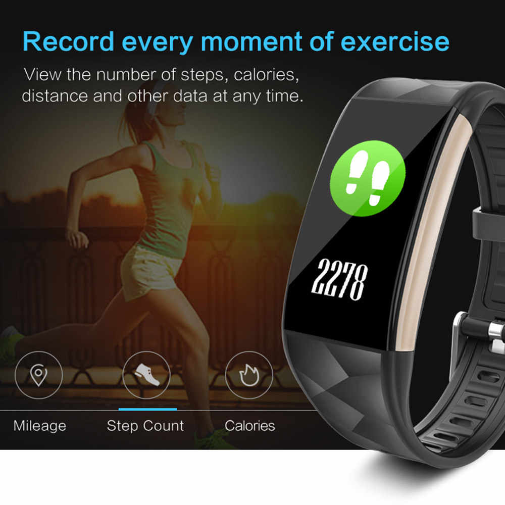 T20 Smart Gelang dengan Tekanan Darah Heart Rate Monitor Sport Aktivitas Tracker Kebugaran Smart Band untuk Xiaomi iPhone