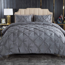 Luxury Bedding Set Solid Color Pinch Pleat Art Work Duvet Cover With Pillowcases White Grey Bed Covers Queen King Size 3pcs