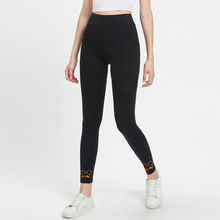 Women Mickey High Waist Solid Casual Leggings 2019 Spring Autumn Stretchy Fitness Midi Skinny Basics Crop Sport