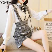 Sweet Bow Pearl Chiffon White Blouse Shirt+Plaid Wool Suspender Short Set 2 Piece Outfits For Women Summer Top Wide Leg Pant Set(China)