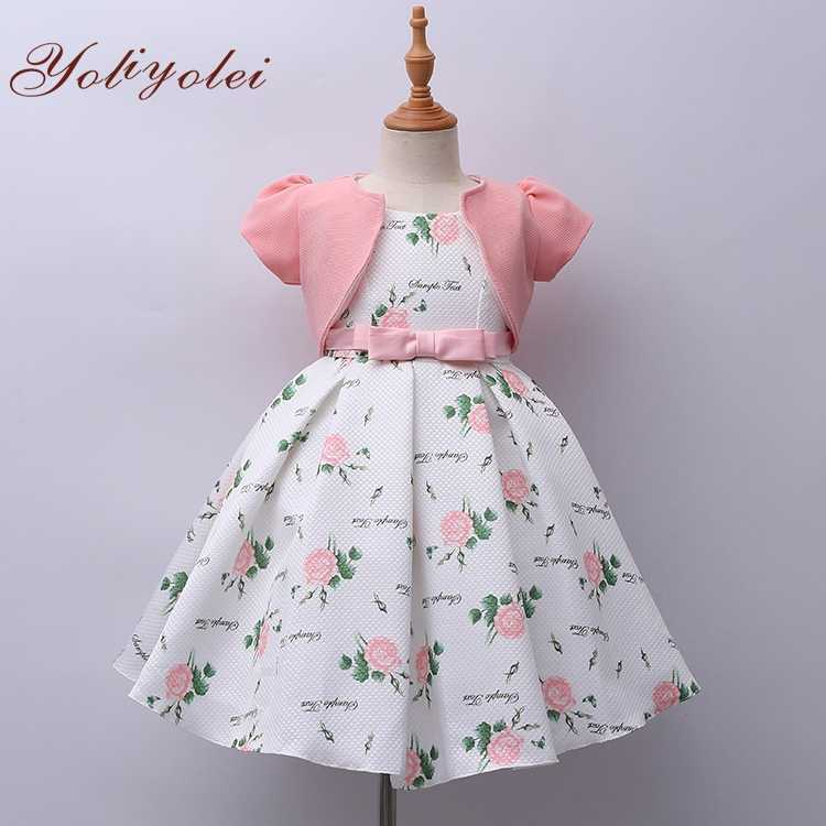 Yoliyolei  2020 New Summer Girls Dress Printing flower Kids Dresses Baby Girls ball gown Party Clothes with short sleeve coat