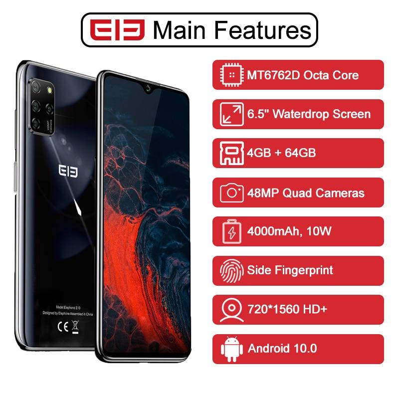 "ELEPHONE E10 Octa Core Smartphone 4GB 64GB 6.5"" Screen Quad Camera 48MP Main Cam Android 10 NFC Side Fingerprint Mobile Phone 1"