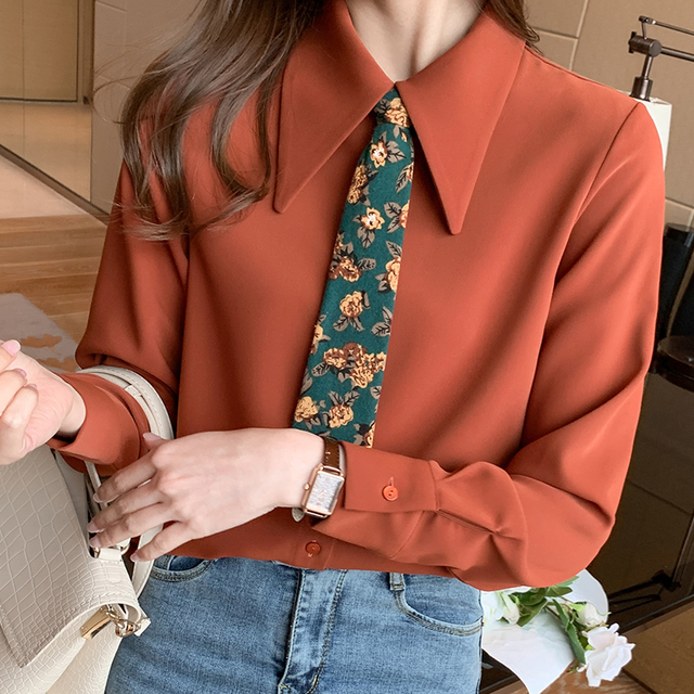 Spring 2021 New Style Big Lapel Retro Palace Style Contrast Color Tie Long-sleeved Chiffon Shirt Women Blouses 2