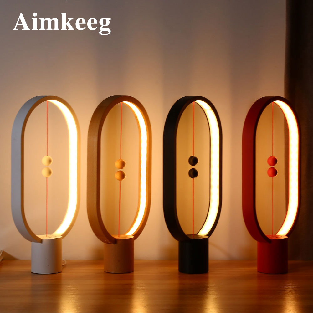 Aimkeeg Creative Smart Balance Lamp LED Table Night Light USB Powered Magnetic Switch Lamp Home Decor Bedroom Office Night Lamp