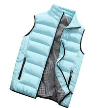 New Men Jacket Cotton Padded Outwear Man Winter Vest Coats Fashion Hooded Design Stitching Warm Casual Sleeveless Waistcoat#Y6(China)