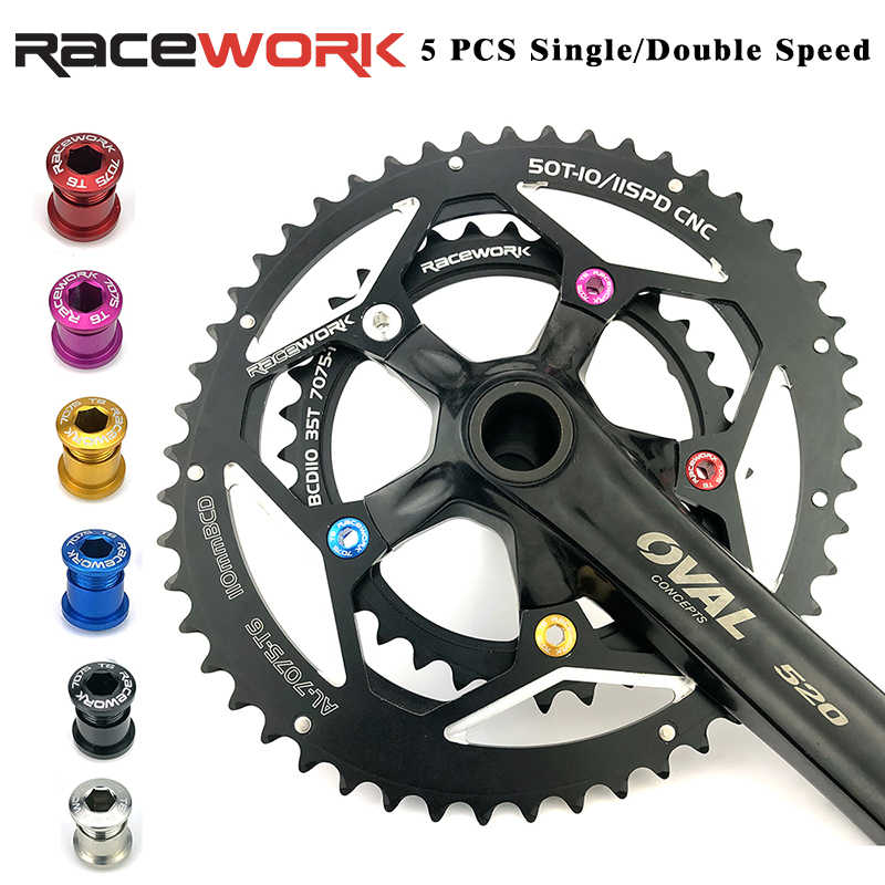 MTBจักรยานCrankโซ่สกรู 7075 อลูมิเนียม 6.5/8.5 มม.จักรยานChainring Bolts 5 แพ็ค