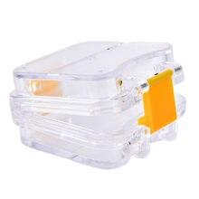 Caja de dientes organizadora de dientes artificiales, Caja de almacenaje para dentadura postiza transparente con contenedor de red colgante, caja de baño para dentadura