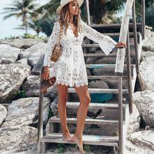 2021 novo verão feminino biquíni cobrir floral rendas oco crochê maiô cover-ups maiô beachwear túnica praia vestido quente
