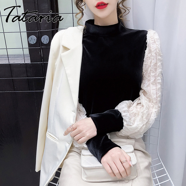 Women Tops And Blouses With Lace Vintage Women Golden Velvet Lantern Long Sleeve Shirt Elegant streetwear Fashion tops spring 3