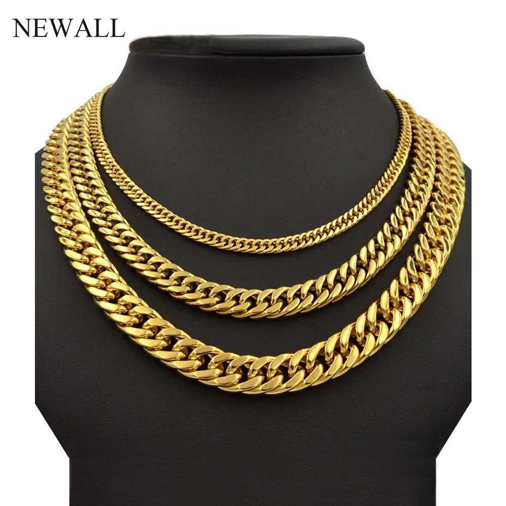 Newall 2019 Hot sale 4-10mm Stainless steel Cuban chain Men Women necklace hip hop jewelry friend gift 50-90cm Length wholesale