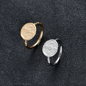 New Arrival Trendy Gold Silver Color Metal Alloy Compass Vintage Big Round Finger Coin Rings Friendship For Women Jewelry Gifts(China)