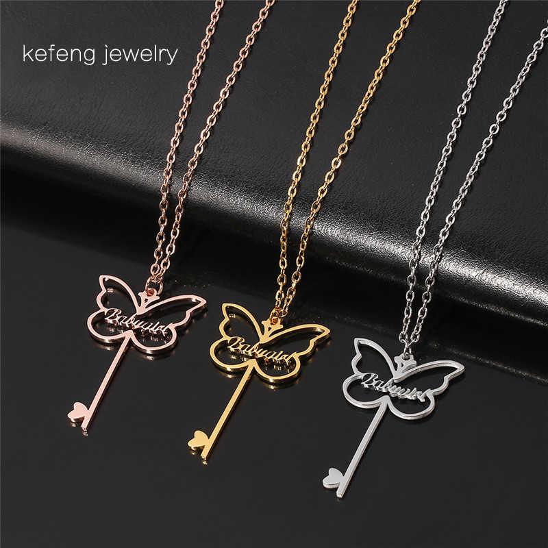 Ожерелье с бабочкой на заказ. Ожерелье из нержавеющей стали. Кулон-табличка с именем. Ожерелье с бабочкой.