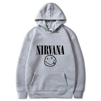 Men Hip Hop Hoodie Sweatshirt Nirvana Print 2020 Streetwear Hoodie Pullover Harajuku Loose Hoodie Autumn Loose  Mens Hoodies christmas digital print pullover hoodie
